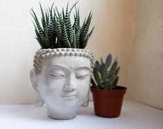 Buddha Head Planter 4 cement plant pot Concrete от brooklynglobal