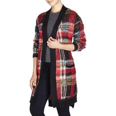 LOVE BY DESIGN Plaid Duster Cardigan ($25) ❤ liked on Polyvore featuring tops, cardigans, reds, side slit top, plaid cardigan, red top, drop shoulder tops and red plaid top