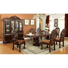 The elegant Furniture of America Grandberry Traditional 9 Piece Dining Table Set - Cherry is truly in a class all its own. This sophisticated collection. Dining Room Sets, Kitchen Dining Sets, Dining Decor, Dining Furniture, Dining Room Table, Dining Chairs, Bedroom Furniture, Solid Wood Dining Set, 7 Piece Dining Set