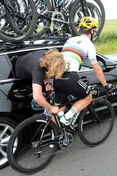 Mark Cavendish repairs...Tour de France 2012, stage two. 2 July 2012. By Graham Watson