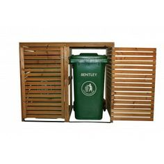 Wooden Double Bin Storage Cupboard Set with 1 x 240 Litre Wheelie Bin - Available in a variety of colours