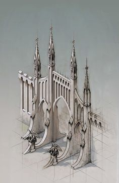 Some fantasy architecture sketching. Colours in PS. Fantasy City, Fantasy Castle, Fantasy Places, Fantasy World, Gothic Architecture, Architecture Details, Classical Architecture, 3d Modellierung, 3d Art