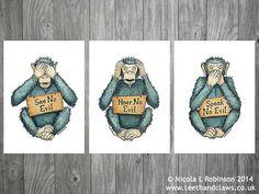 Three Wise Monkeys Monkey Art Prints Monkey Wall by TeethandClaws