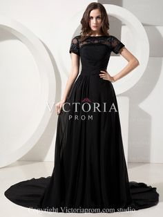 Elegant Black A-Line With Train Chiffon Beaded Cap Sleeve Prom Dress - US$163.99 - Style P0270 - Victoria Prom
