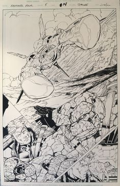 Fantastic Four Issue 5 page 14 splash ! , in Brian Sieber's Jim Lee Comic Art Gallery Room Comic Book Artists, Comic Books Art, Comic Art, Jim Lee Art, Splash Page, Bristol Board, Art Archive, Fantastic Four, Types Of Art