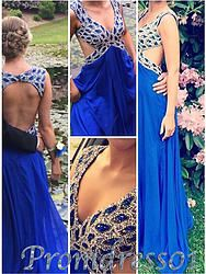 #promdress01 prom dresses - 2015 royal blue long modest sexy deep-v prom dress for teens, ball gown,evening dress #coniefox #2016prom
