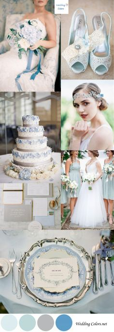 Wedding Color Inspiration|Pastel Blue, Grey & White
