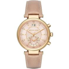 Michael Kors Watches, Ladies Sawyer Chronograph Gold-Tone Leather... ($300) ❤ liked on Polyvore featuring jewelry, watches, gold, leather watches, analog wrist watch, analog chronograph watch, gold tone watches and chronograph dial watch