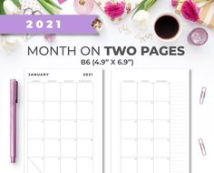 2021 B6 Minimal Printable Monthly Calendar Insert On Two Pages image 0 Weekly Planner Printable, Monthly Planner, Printer Paper, Color Calibration, Planner Inserts, Keep In Mind, Hourglass, Planners, Minimal