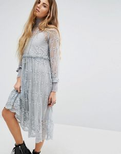 High neck lace dress asos usa