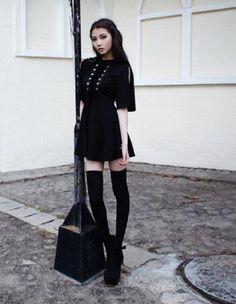 Dress black Japanese Harajuku. Black Lace Up DressHarajuku FashionEmo  FashionGothic ... 8fcc704a6b53