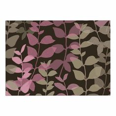 KESS InHouse Carolyn Greifeld 'Leaves of Fantasy 2' Pink Brown Dog Place Mat, 13' x 18' ^^ If you love this, read review now : Dog food container