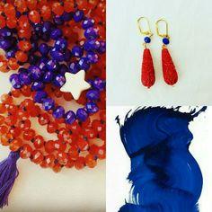 Blu e rosso Corniola collane con stella e nappine. Abbinamento con gli orecchini #necklace #earring