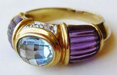 Vintage Fine 14K Gold Blue Tourmaline Amethyst Diamond Cocktail Ring Size 6 5
