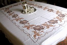"Rectangular Vintage Crochet  Tablecloth, Ivory/Brown 100"" x 72""  *Make Offer!"