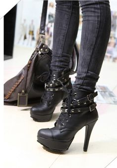 Casual and Stylish Style Buckle and Studs Embellished High-Heeled Boots
