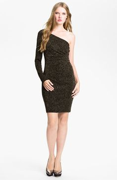 Adrianna Papell One Sleeve Glitter Jersey Sheath Dress available at #Nordstrom