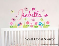 Flower Garden Wall Decal  Custom Wall Name by WallDecalSource, $55.00