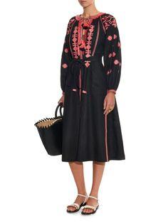 Embroidered linen midi dress | Vita Kin | MATCHESFASHION.COM UK