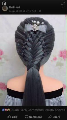 Two separate braids, then pull hair through with tool, then fishtail. Wedding Hairstyles For Women, Unique Hairstyles, Pretty Hairstyles, Plaits Hairstyles, Braided Hairstyles Tutorials, Hairdos For Work, Pretty Braids, Fantasy Hair, Hair Affair