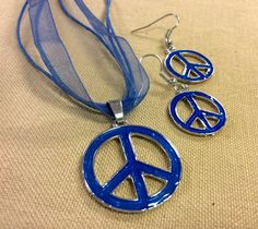 Handcrafted Necklace and Earring Set Blue Peace