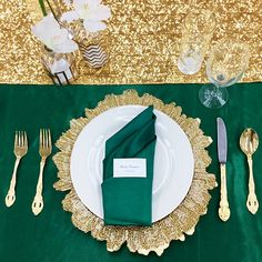 Details For A Teal And Gold Wedding Reception Tablescape