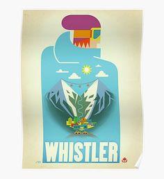 """""""Blue Bird"""" Whistler, BC Travel Poster Poster"""