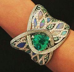 Opal, diamond, tourmaline bracelet