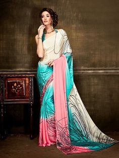 Exotic multicolour #casual #saree online for #women which is crafted from #silk #crepe fabric with extreme exclusive prints and patterns.