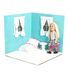Take a look at this Aqua & White 18'' Doll Room Set by American Doll Room on #zulily today!