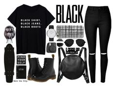 """black."" by thoughtandfashion ❤ liked on Polyvore featuring Dr. Martens, Monki, Casetify, Marc by Marc Jacobs, 3.1 Phillip Lim, Mead, women's clothing, women, female and woman"