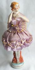 VINTAGE 1920'S GERMAN PORCELAIN FLAPPER BALLERINA HALF DOLL PIN CUSHION EXC NR