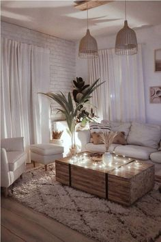 simple craft ideas for room decor Solid Wooden Coffee Table - rustic living room idea - sitting area Living Room Decor Cozy, Boho Living Room, Living Room Tables, Cozy Living Room Warm, Rustic Apartment Decor, Rustic Livingroom Ideas, Brown Room Decor, Farmhouse Living Room Decor, Woodland Living Room