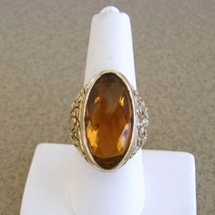 Sterling Silver Large Topaz Colored Glass Stone Cocktail Ring Gold Wash Italy 8