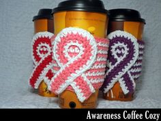 Thinking about making these for the cf walk next year!  Awareness Coffee Cozy Crochet Pattern