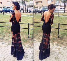 Black Lace Prom Dress Party Gown Deep V Back on Luulla Elegant Dresses, Pretty Dresses, Beautiful Dresses, Formal Dresses, Gorgeous Dress, Prom Party Dresses, Party Gowns, Dress Party, Mode Style