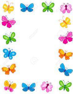 Illustration about Colorful butterflies border / frame / background. Illustration of blank, easter, colour - 24222858 Butterfly Frame, Butterfly Design, Flower Frame, Borders And Frames, Borders For Paper, Diy Crafts Paper Flowers, School Board Decoration, Printable Border, Printable Labels