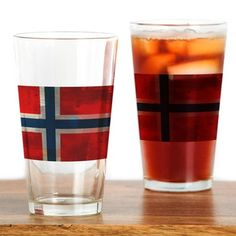 Grunge Norwegian Flag Drinking Glass