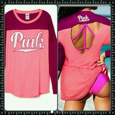 4@missb only! } VICTORIA SECRET PINK OPEN BACK TEE 4 MISS B ONLY》》》NEW IN PACKAGE ONLY OPENED FOR PICTURE  VICTORIA SECRET PINK OPEN BACK LONG SLEEVE TEE. SO CUTE! !!SZ:LARGE. BUNDLE FOR EVEN BETTER DISCOUNTS JUST ASK. ALWAYS OPEN TO REASONABLE OFFERS.any questions please ask.trade value 55.00 PINK Victoria's Secret Tops Tees - Long Sleeve
