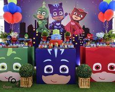 Pj Mask Party Decorations, Birthday Decorations, Boy Birthday Parties, 4th Birthday, Birthday Cakes, Decoracion Pj Mask, Pjmask Party, Festa Pj Masks, Boy Decor