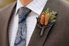 Rustic Pinecone Boutonniere