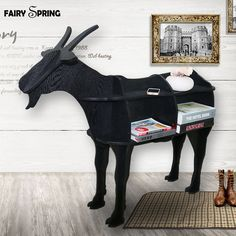 Nordic Home, Nordic Style, Scandinavian Style, Sheep House, Diy Mailbox, Wooden Bookcase, Bookcase Shelves, Goat Art, Farm Crafts