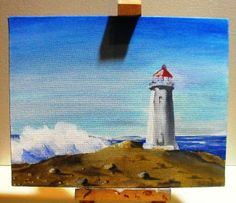 """11"""" by 14"""" original canvas board lighthouse by Dimitri Walker"""