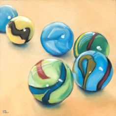 marbles | marbles daily painting, original painting by artist Ria Hills ...