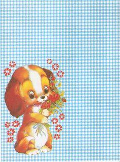PAPEL DE CARTA CACHORRO COM FLORES #vichypattern #vichy #xadrez #puppy