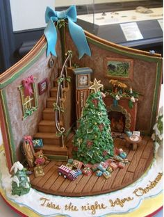 Inside the gingerbread houe, so clever