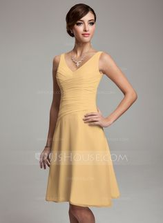 A-Line/Princess V-neck Knee-Length Ruffle Beading Sequins Zipper Up Regular Straps Sleeveless No Ivory Spring Summer Fall General Plus Chiffon Bridesmaid Dress