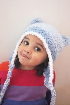 6 to 12m Boy Baby Earflap Hat Bear Beanie Baby Hat Blue Soft Baby Crochet  Bear Hat Boy Baby Hat Baby Photo Prop 386bc46b2502