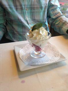 Raspberries and cream. Bayeux, France