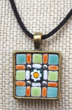Handmade mosaic tile pendant / necklace by NikkiSullivanMosaics, $29.50